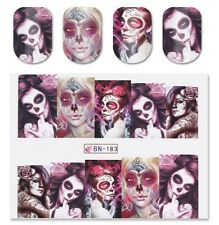 Full Wrap Old Skull Tattoo Women Nail Art Water Transfer Decal Stickers BN-183