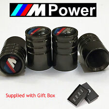 Bmw m-power deluxe noir chrome wheel valve dust caps. M3 M5 m-sport M6 X3