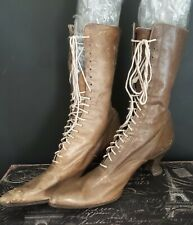 Antique! Pair Of Leather Brown Lace Up Woman's Boots Unmatched Parts or Repair