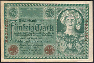 1920 50 Mark Germany Old Vintage Paper Money Banknote Currency Bill Rare in XF