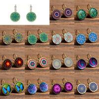 Fashion Women Boho Earrings Glass Round Flower Ear Stud Hook Vintage Jewelry