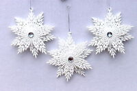 GISELA GRAHAM CHRISTMAS WHITE  IRID GLITTER SNOWFLAKE WITH JEWEL DECORATION X 3