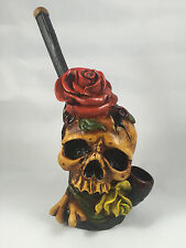 HANDMADE TOBACCO PIPE, Skull Rose in Mouth Design.