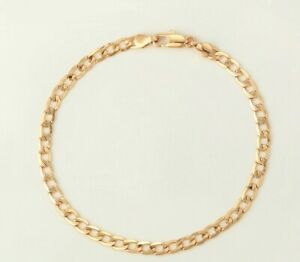 """9K 9carat Yellow """"Gold FILLED"""" Curb Cuban ANKLE CHAIN  Anklet , 10.4"""" Gift Pouch"""