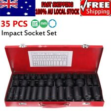 "Black Drive Deep Impact Metric Socket Set Car Garage Tools 35pcs 1/2"" AU"