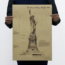"Poster Vintage Art Wall Decor Bar Shop Statue of Liberty Drawing A2 14""x20"""
