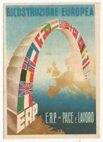 RICOSTRUZIONE EUROPEA ERP cartolina non viaggiata 1949 colori formato grande