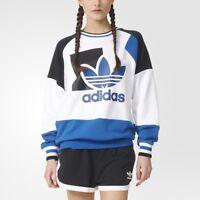 New Adidas Originals Women Running Hoodie White Jumper Crew Neck Sweater AJ8844