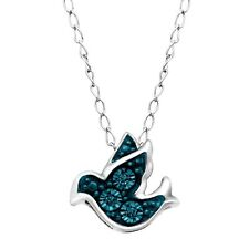 Teeny Tiny Bird Pendant with Blue Diamonds in Sterling Silver