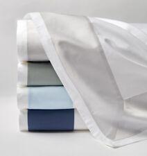 Sferra Casida King Flat Sheet - White/Delft Blue
