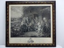 Antique 1783 Etching Engraving Charles Benazech Le Vrai Bonheur (True Happiness)
