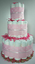 3 Tier Diaper Cake Pink Chevron & Polka Dot Baby Girl Baby Shower Centerpiece