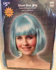 Short Blue Hair Bob Cut Wig Bangs Katy Cosplay Costume Adult One Size NIP