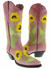 Womens Pink Sunflower Embroidered Leather Cowgirl Boots Snip Toe