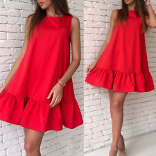 Women Girls Beach Summer Ruffle Sleeveless Mini Short Dress Casual A Type Dress