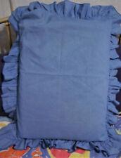 1 Ruffled Bed Pillow Sham Solid Medium Blue Standard/Queen Perm Press Vintage