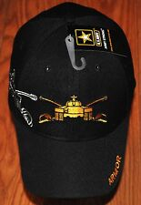 New Black US Army Armor Hat Ball Cap Veteran Military Division Armored