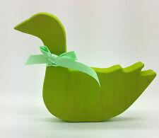 Figura De Madera Pintada De Ganso Verde Brillante Navidad Decoración Shabby Chic Casa