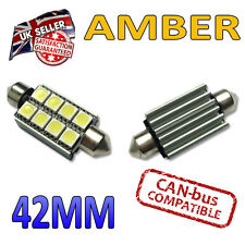 2 X 42mm ámbar CANBUS Festoon LED Bombillas 8 SMD interior número de placa placa 264