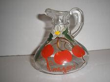 Vintage Hand Painted Vinegar Cruet Clear Glass Cherries No Stopper Mid-Century