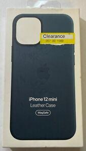 "Genuine Apple iPhone 12 Mini (5.4"") Leather Case w/Magsafe Baltic Blue MHK83ZM/A"