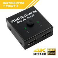 2x1 1x2 UHD 4K Bi Richtung HDMI 2.0 Schalter Umschalter Splitter Hub HDCP 3D XY