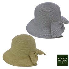 Ladies Summer Cloche Straw Hat Excellent Quality Cut Away Brim Adjustable Size