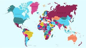 Full Colour Large World Map Wall Stickers Globe Graphics Vinyl Art GA4-1-1