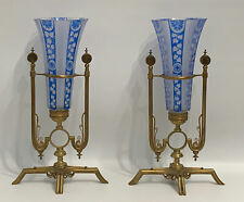 19 th Pair Of Antique French Baccarat?  Crystal And  Bronze Vases 13""