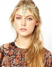 Boho Women Pearl Gold Wedding Headdress Headband Head Band Crown Chain Headpiece