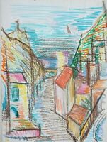 "André TELLIER  - """" Le Rayol Canadel""  crayon vers 1950/60"