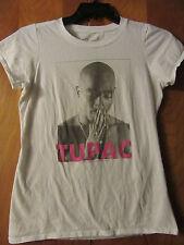 Tupac- Praying- Girl's Cut White T-Shirt- Large