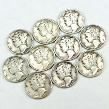 Super Special! - Group Lot of 10 Nice 90% Silver Mercury Dimes! FREE SHIPPING