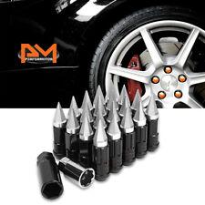 M12X1.5 Silver JDM Cone Wheel Lug Nut+Spline Lock+Spiked Cap+Key 25mmx75mm 20Pc