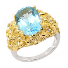 De Buman Two-tone 925 Silver 7.77ctw Sky Blue Topaz Flowers Surround Ring, Size7