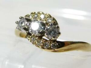 Vintage 9ct Gold Diamond Cluster Ring Twist Form Size O Hmkd 1989 #RBD