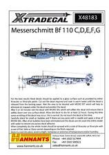 Xtra Decals 1/48 MESSERSCHMITT Bf-110C D,E,F, & G German Fighter-Bomber