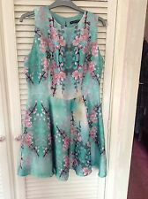 Ladies Brand New Primark Floral Mint Sleeveless Dress UK Size 14