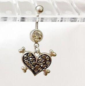Belly Ring Heart w/Crossbones w/Brown Gems Fancy Dangle Naval Steel Body