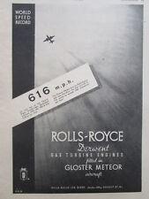 10/1946 PUB ROLLS-ROYCE DERWENT GLOSTER METEOR RAF WORLD SPEED RECORD 616 MPH AD