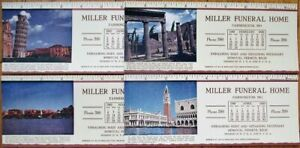 Farmington, MO 1947 Advertising Blotters - SET OF FOUR w/Rulers - Funeral Home