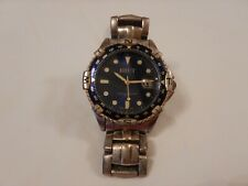 BRUT-men's Quartz watch-used condition-90s-blue and gold-auto date dial