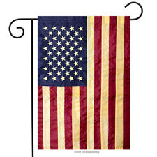 "Tea Stained Embroidered American Flag Garden Flag Stars & Stripes USA 12"" x 18"""