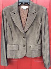 Michael Kors Sz 8 Brown Blazer 2 Button Lined Herringbone Jacket Business