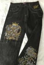 MENS MEGGA BAGGY SKATER HIP HOP STREEWEAR BLACK JEANS SIZES 32 34 36 38 40 42 44