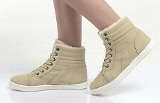 WOMENS LADIES ANKLE BOOTS HI HIGH TOP TRAINERS FUR LINED PUMPS FLAT SOLE SHOES