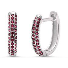 Ruby Huggie Hoop .925 Sterling Silver Earrings