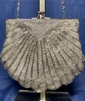 Vintage Beaded Evening Bag Purse Clutch Silver Seashell Clam Shell Chain Strap