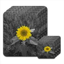 Bright Yellow Sunflower In Grey Fields Coaster & Placemat Set