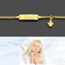 Baby Taufe Name Datum Gravur Armband Echt Gold 333 Schutzengel Anhänger 14 16 cm